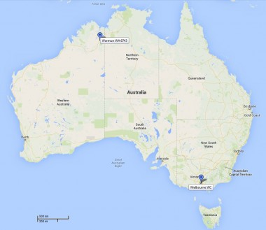 Warmun and Melbourne are separated by 3,000+ kms of Australian landscape.